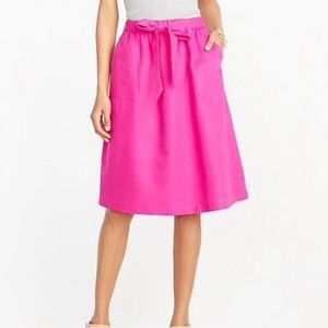 NWT J. Crew Pull-On Bow Midi Skirt in Wild Berry